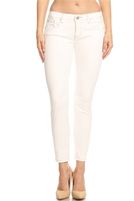 Women 5 pockets classic Denim jeans AMM550-White