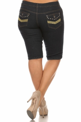 Wholesale Plus Size Denim Capri Pants BB-2010D-Navy (12 PC)