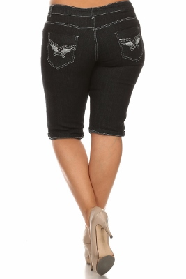 Wholesale Plus Size Denim Capri Pants BB-2016D-Black (12 PC)