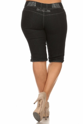 Wholesale Plus Size Denim Capri Pants BB-2017D-Black (12 PC)