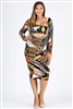 Plus size pattern multi-print dress BBA-2002X-Teal-yel-3pc