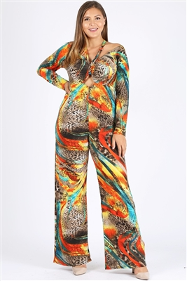 Multi-print Long Sleeve Open Shoulder Suits BBA-5002X(3pc)