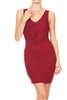 Crisscross Center Dress BD-1870-Burgundy (6 pc)