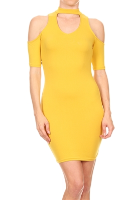 Chocker Neck Cold shoulder Dress BD-2093-Mustard (6 PC)