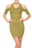 Chocker Neck Cold shoulder Dress BD-2093-Olive (6 PC)