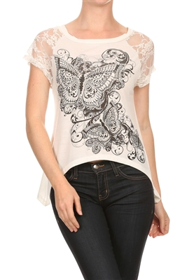 Lace Short Sleeve Butterfly Embellished Hi Low Top BSS-3014-W (6 pc)