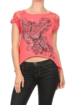 Lace Short Sleeve Butterfly Embellished Hi Low Top BSS-3014 (6 pc)