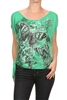 Graphic Printed Tied Side Top BSS-3016-GREEN (6 pc)