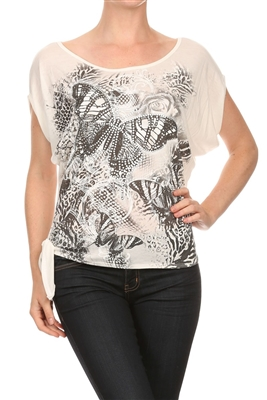 Graphic Printed Tied Side Top BSS-3016-Ivory (6 pc)