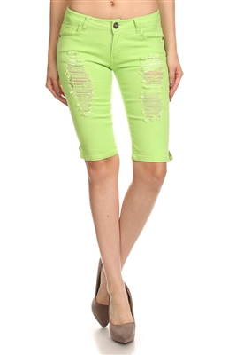 5 Pockets classic Distressed Bermudas Jeans COBD-Lime (12 pc)