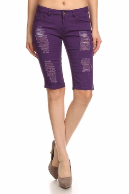 5 Pockets classic Distressed Bermudas Jeans COBD-Purple (12 pc)
