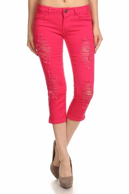 Distressed Capri Pants COC48D-Fushia (12 pc)