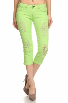 Distressed Capri Pants COC48D-Lime (12 pc)