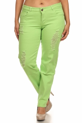 Plus Size Distress Pants COPB-D-Lime (12 pc)