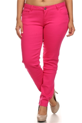Plus Size Cotton Stretch Jeans COPB-Fushia (12 pc)