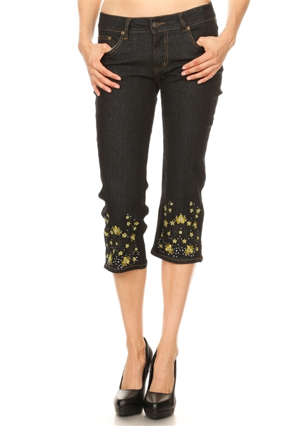 DB-111 Embroidered capri (12 pc)