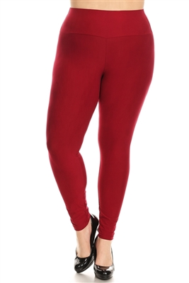 PLUS SIZE STRETCHY SOFT LEGGINGS DL-300-BURGUNDY (10 PC)