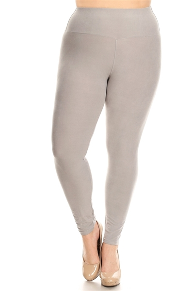 PLUS SIZE STRETCHY SOFT LEGGINGS DL-300-LT-GRAY (10 PC)