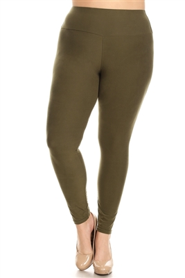 PLUS SIZE STRETCHY SOFT LEGGINGS DL-300-OLIVE (10 PC)