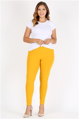 Plus Size High Waist Brushed Legging Pants DL-300B-MUSTARD (6 PC)