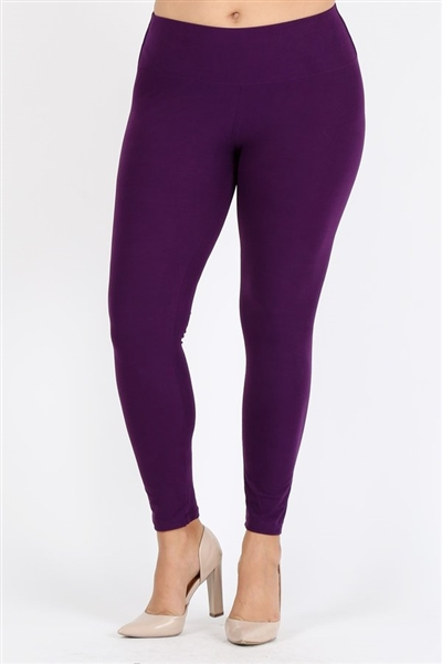 Plus Size High Waist Brushed Legging Pants DL-300B-PURPLE (6 PC)