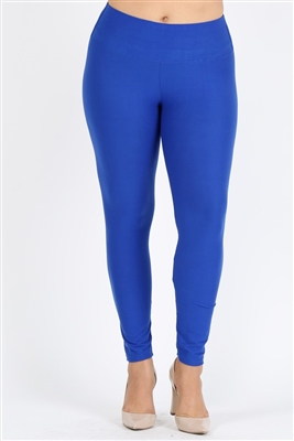 Plus Size High Waist Brushed Legging Pants DL-300B-ROYAL BLUE (6 PC)