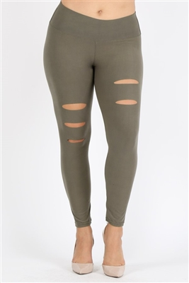 Plus Size Ripped High Waist Legging Pants DL-400-OLIVE (6 PC)
