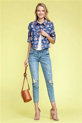 Denim Button Down Floral Crop Top Top DN-165R-DARK NAVY-3 (6 PC)