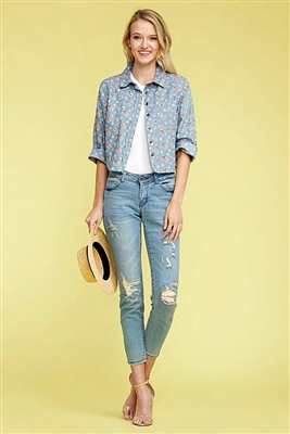 Denim Button Down Floral Crop Top Top DN-165R-DENIM BLUE-1 (6 PC)