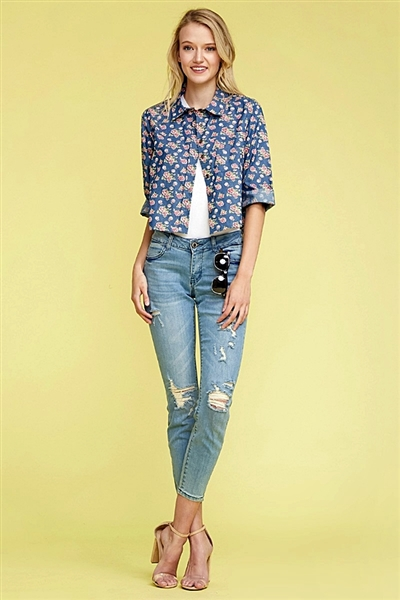 Denim Button Down Floral Crop Top Top DN-165R-NAVY-2 (6 PC)