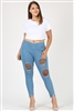 PLUS SIZE HIGH WAIST DISTRESSED JEGGINGS  DV002PLUS-LIGHT-BLUE (6 PC)
