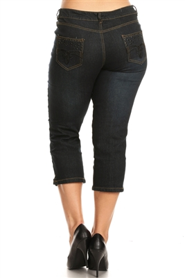 Plus Distressed Denim Capri Jeans ECB-112-Black (12 pc)