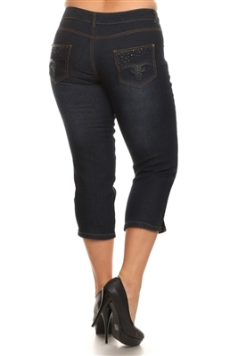 Wholesale Plus Size Denim Capri Pants ECB-114D-Navy (12 pc)