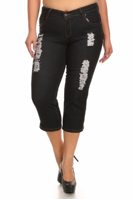 Wholesale Plus Size Denim Capri ECB-117D-Black (12 pc)