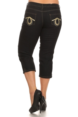 Wholesale Plus Size Denim Capri Pants ECB-118D-Black (12 pc)