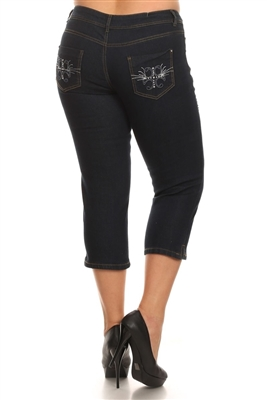 Wholesale Plus Size Denim Capri Pants ECB-120D-Navy (12 pc)