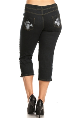 Plus Distressed Denim Capri Jeans ECB-121D-black (12 pc)