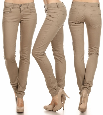 Wholesale Pants Basic 5 Pockets EM-001 Khaki (19 pc)