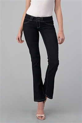 wholesale Bootcut denim jeans EP-414 black-(12 pc)