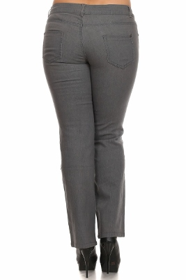 Plus Size Denim Jeans Grey EPB030-Grey