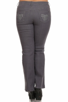 Plus Size Denim Jeans Grey EPB047-Grey