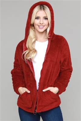 Faux Fur Teddy Bear Zip Up Hoodie Jacket FUR-101-Burgundy