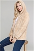 Faux Fur Teddy Bear Zip Up Hoodie Jacket FUR-101-Taupe