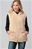Faux Fur Teddy Bear Zip Up Hoodie vest FUR-104-Cream-6pc