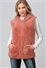 Faux Fur Teddy Bear Zip Up Hoodie vest FUR-104-Mauve-6pc