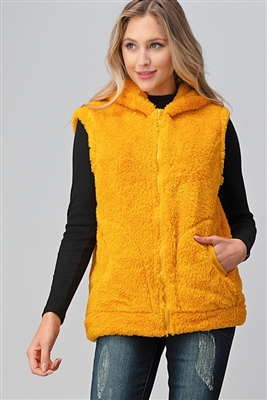 Faux Fur Teddy Bear Zip Up Hoodie vest FUR-104-Mustard-6pc