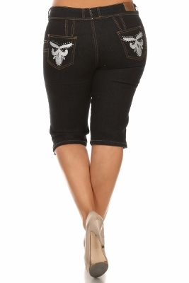 Wholesale Plus Size Denim Capri Pants GBB-205-D-Black
