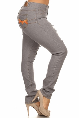 Women Plus Size Distressed Jeans GPSB-268D