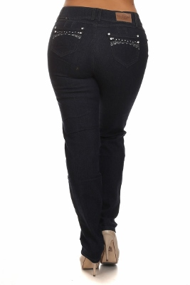 Women Plus Size Jeans GPSB4507-Navy