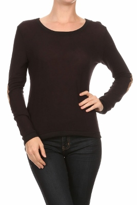 L/S Scoop neck top HC-144-Black